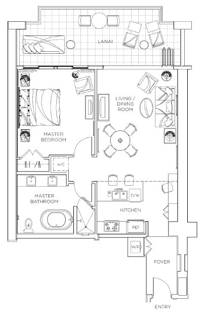hyatt kaanapali beach 1bed-floor-plan