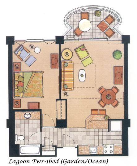 Vacation Rental on Oahu - One Bedroom Floor Plan