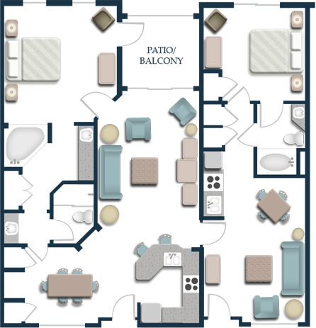 Harborside Resort - Floor Plan Two Bedroom Lock-off Villa