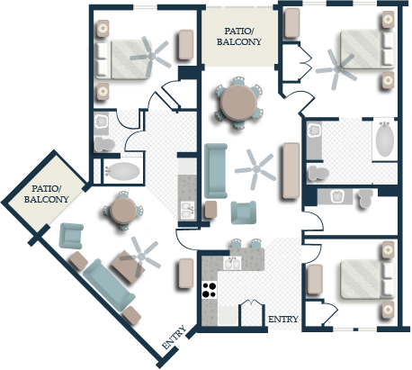 Harborside Resort - Floor Plan Three Bedroom Lock-off Villa