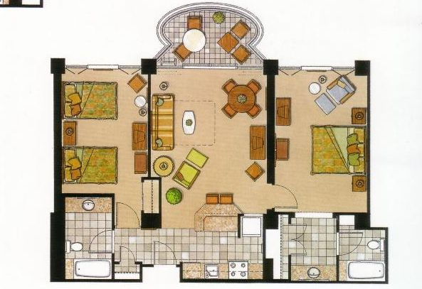 Vacation Rental on Oahu - 2 bedroom Floor Plan